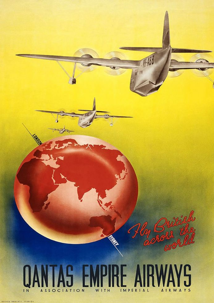 Qantas Empire Airways: Fly British Across the World. Vintage Travel/Tourism Print.  (002727)